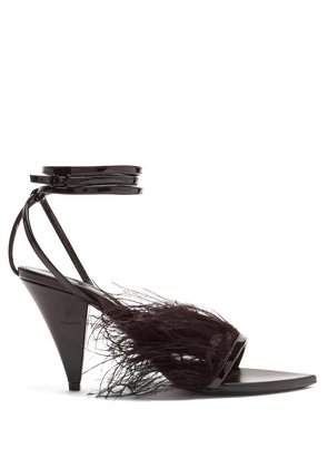 Era ostrich feather-embellished leather sandals