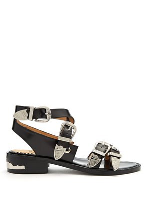 Cross-strap buckle leather sandals