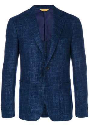 Canali textured fitted blazer - Blue