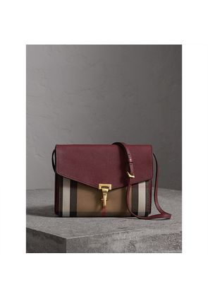Burberry Small Leather and House Check Crossbody Bag, Red
