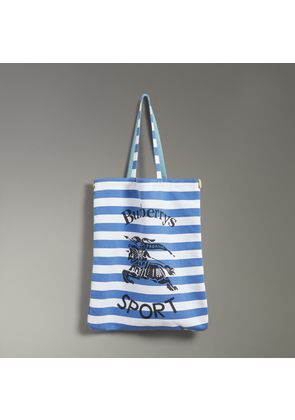 Burberry Large Archive Logo Striped Jersey Shopper, Blue
