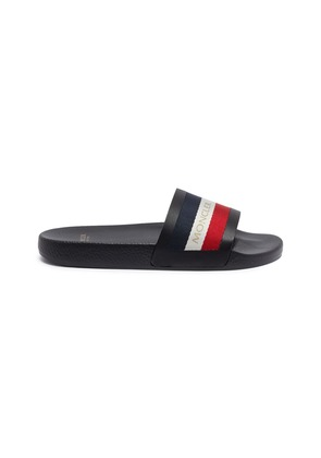 Stripe band leather pool slides