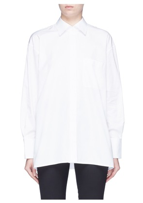 Button sleeve oversized poplin shirt