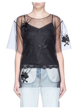 Orchid embroidered organdy overlay camisole top