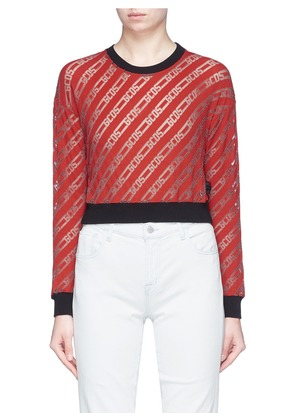 Logo stripe devoré velvet cropped top