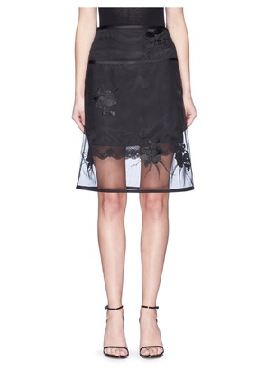 Orchid embroidered organdy overlay skirt