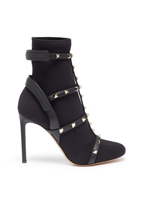 'Rockstud' caged sock knit boots