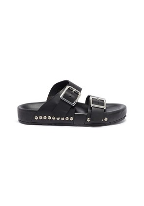 Hammered stud buckled leather slide sandals