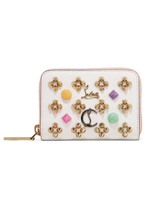 Christian Louboutin - Panettone Spiked Textured-leather Wallet - White
