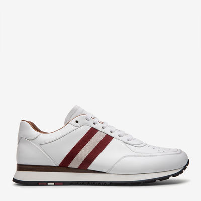 Othello White, Mens plain calf leather trainers in white Bally