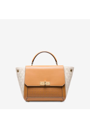 Bally B Turn Small Brown, Women's small plain calf leather top handle bag in caramel