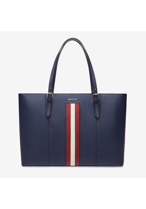 Bally Supra Large Blue, Women's leather tote in marine