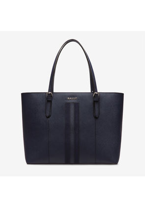 Bally Supra Large Blue, Women's leather tote bag in marine