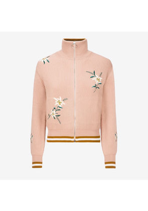 Bally Edelweiss Knitted Bomber Jacket Pink, Women's knitted wool bomber jacket in blush