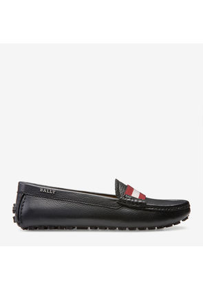 Bally Ladyes Black, Women's grained leather driver shoe in black
