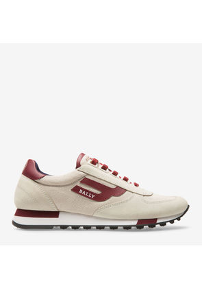 Bally Gavinia Neutral, Women's cotton canvas trainer in natural and Bally Red