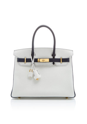 Heritage Auctions Special Collections Hermès 30cm White and Blue Nuit Clemence Leather Special Order Horseshoe Birkin