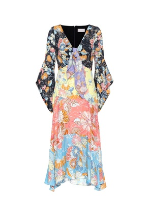 Floral-printed crêpe midi dress