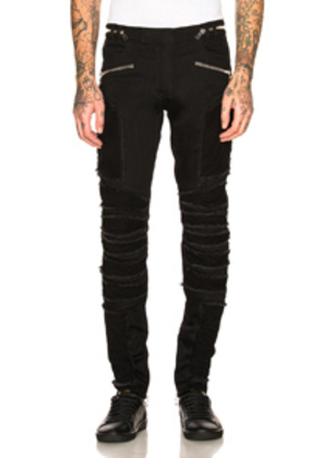 BALMAIN Ribbed Slim Jeans in Black