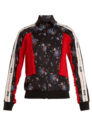 Floral-print contrast-panel track top