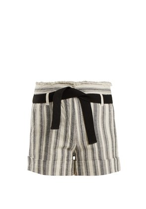 Ezed high-rise striped cotton shorts