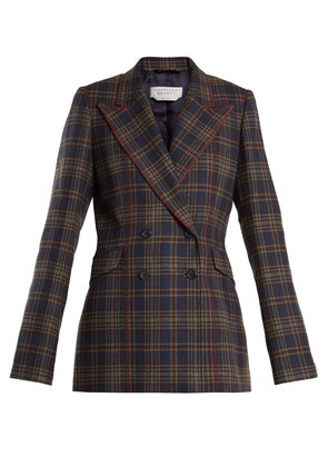 Angela double-breasted checked wool blazer