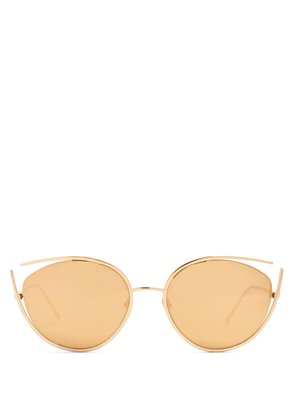 Cat-eye mirrored gold-plated sunglasses