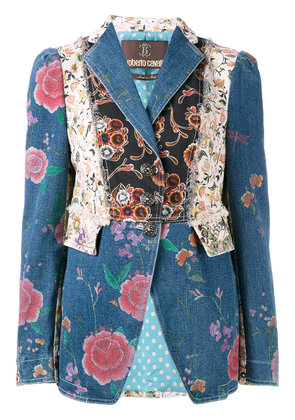 Roberto Cavalli floral patch fitted jacket - Blue
