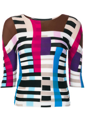 Issey Miyake Cauliflower colour blocked knitted top - Multicolour