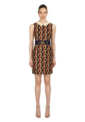 WEB CHAIN PRINT SILK CADY DRESS