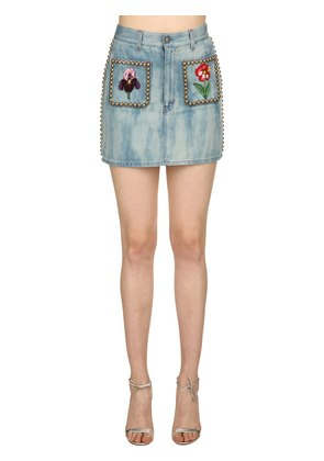 STUDDED & EMBROIDERED COTTON DENIM SKIRT