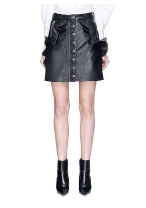 Ruffle leather mini skirt