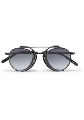 Garrett Leight California Optical - Wilson M 49 Round-frame Acetate And Metal Sunglasses With Clip-on Leather Shields - Black