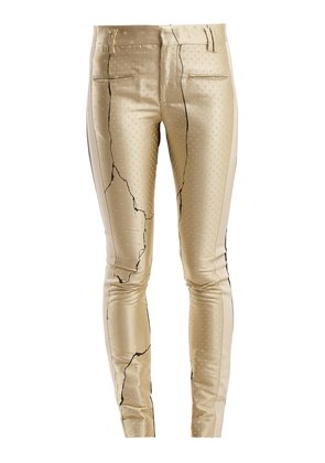Mid-rise jacquard and leather trousers