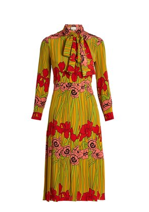 Iris and poppy-print silk dress