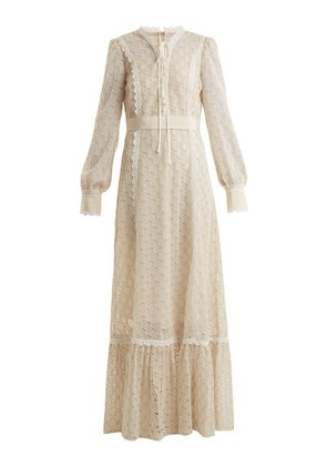 Logo-macramé lace-trimmed cotton-blend gown
