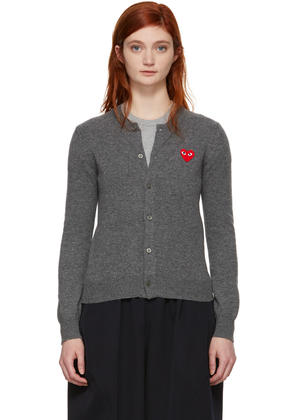 Comme Des Garçons Play Grey and Red Heart Cardigan