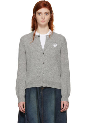 Comme Des Garçons Play Grey and White Heart Cardigan