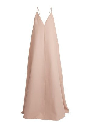 Deep V-neck wool and silk-blend gown