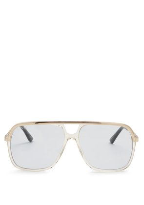 Web-striped aviator tinted sunglasses