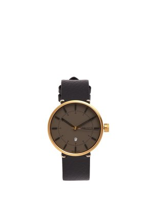 BW002 stainless-steel and grained-leather watch