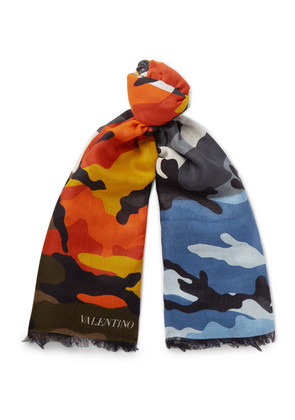 Camouflage-print Modal And Cashmere-blend Scarf