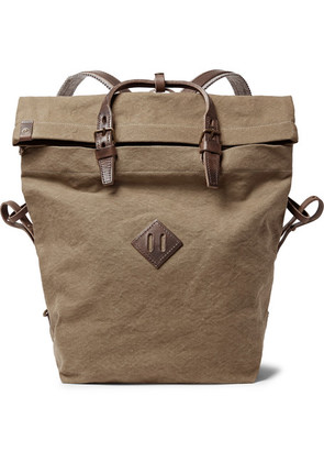 Woddy Leather-trimmed Cotton-canvas Backpack