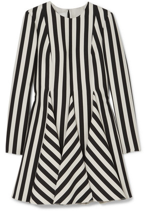 Valentino - Striped Wool And Silk-blend Mini Dress - Black