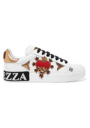Dolce & Gabbana - Appliquéd Embellished Leather Sneakers - White