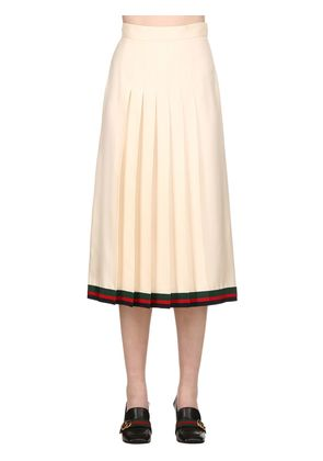 PLEATED SILK TWILL MIDI SKIRT