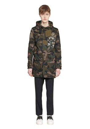 PRINTED CAMO COTTON DRILL PARKA COAT