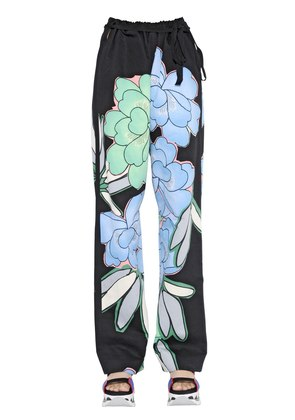 FLORAL PRINTED COTTON DRILL PANTS