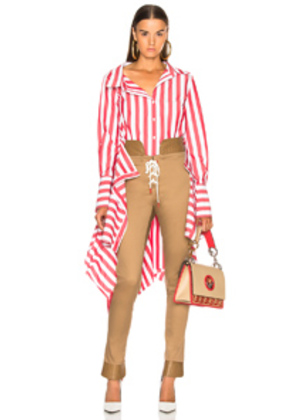 Monse Shirt with Wrap Peplum in Red,Stripes,White