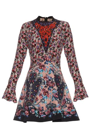 Holbert Cosmo Rose-print A-line dress
